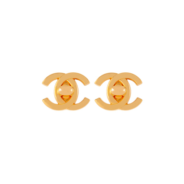 1997 Vintage Chanel Turn Lock Clip-On Earrings