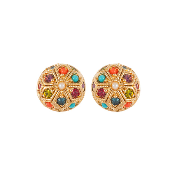 1990s Vintage D'Orlan Round Clip-On Earrings