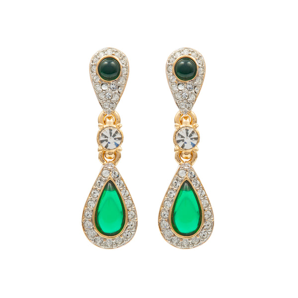 1980s Vintage D'Orlan Faux Emerald Clip-On Earrings
