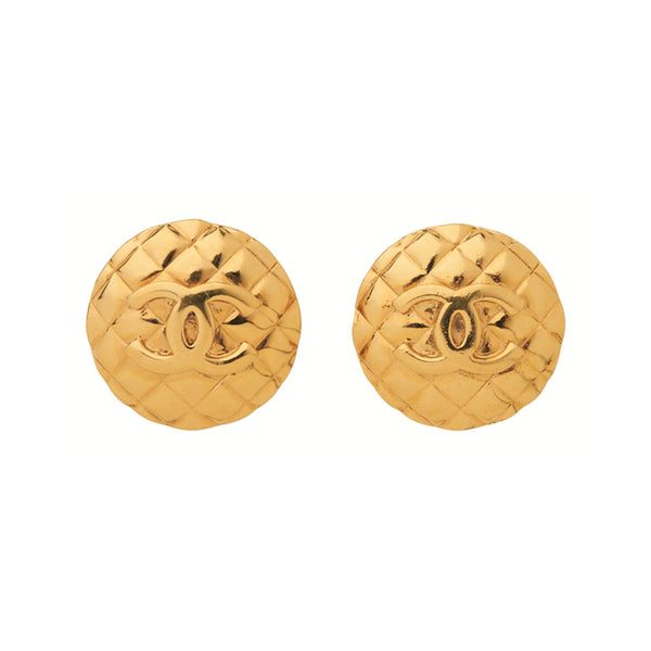 1980s Vintage Chanel Quilted Oversized Clip-On Earrings