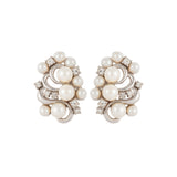 1980s Vintage Faux Pearl Swirl Clip-On Earrings