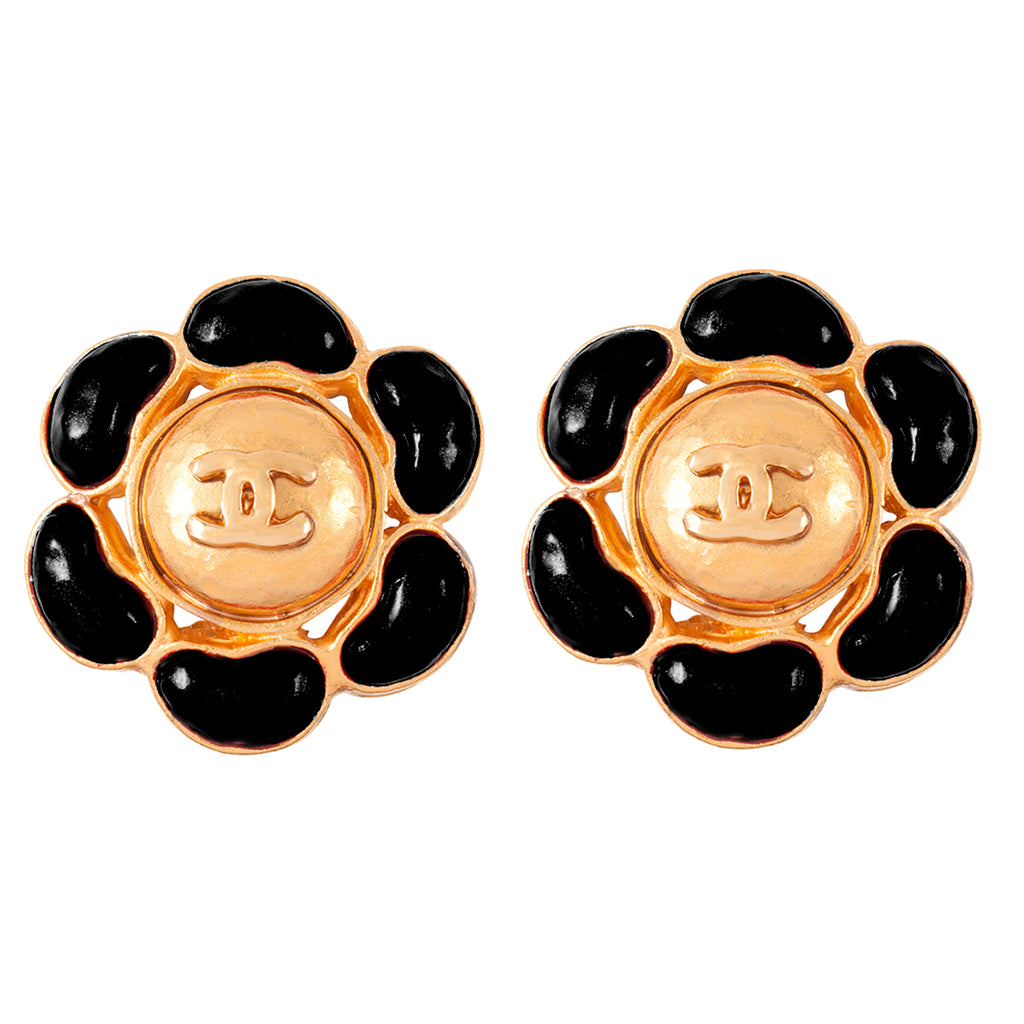 1990s Vintage Chanel Enamelled Clip-On Earrings