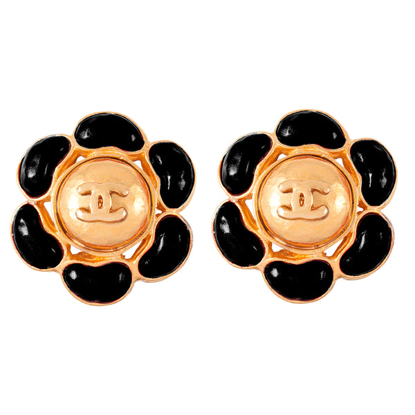 1990s Vintage Chanel Jet Enamel Clip-On Earrings