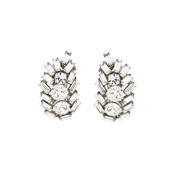 1960s Vintage Sherman Crystal Clip-On Earrings