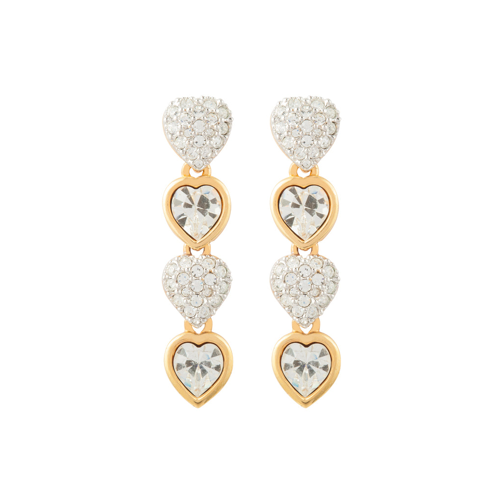 1980s Vintage Swarovski Heart Earrings
