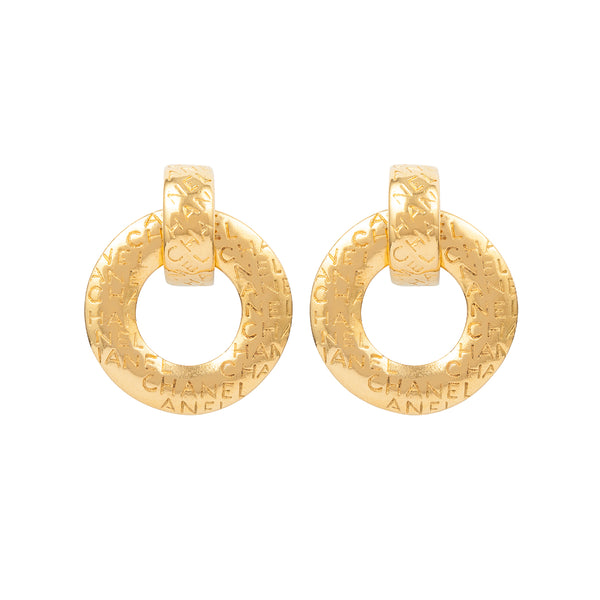 1980s Vintage Chanel Door Knocker Clip-On Earrings