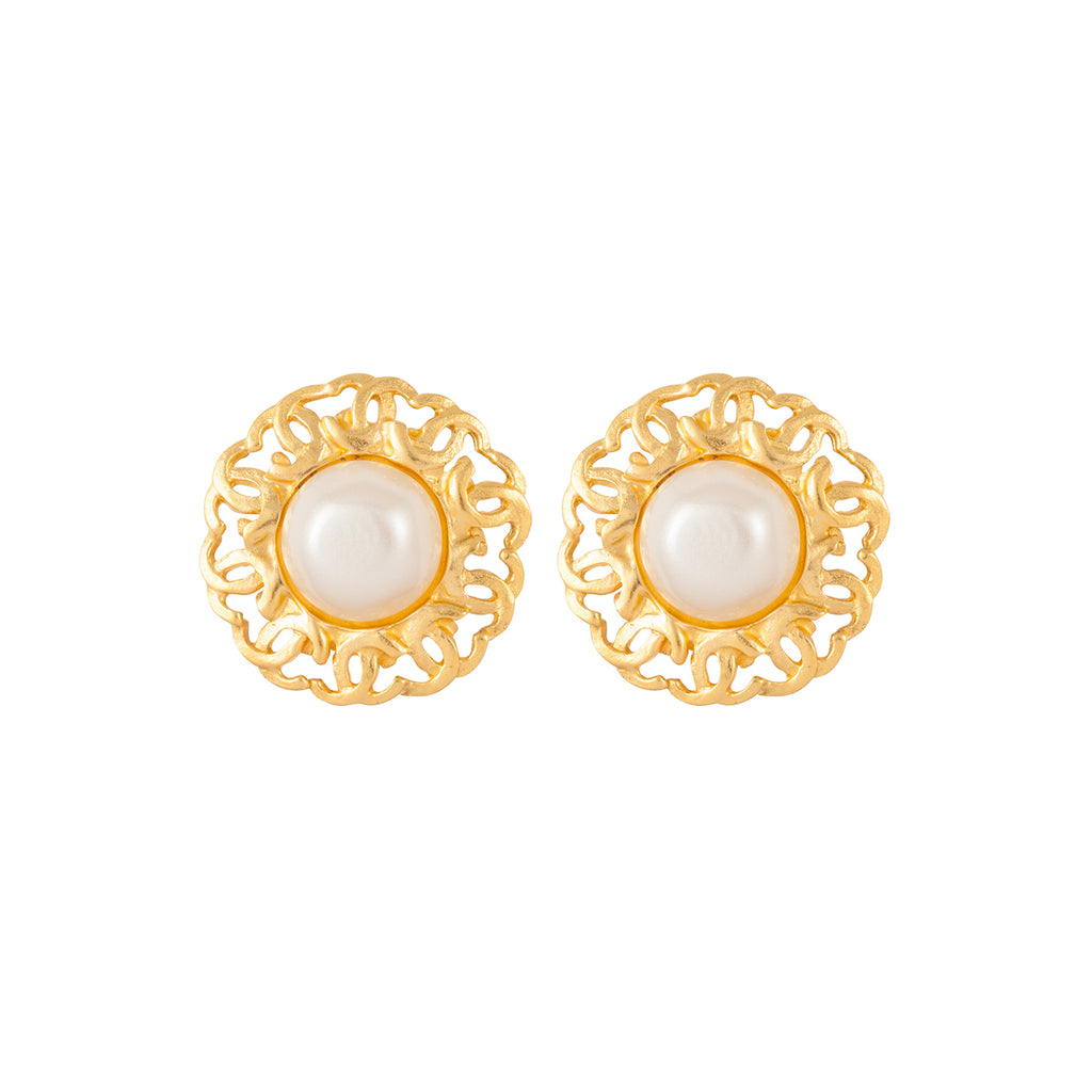 1995 Vintage Chanel Faux Pearl Clip-On Earrings