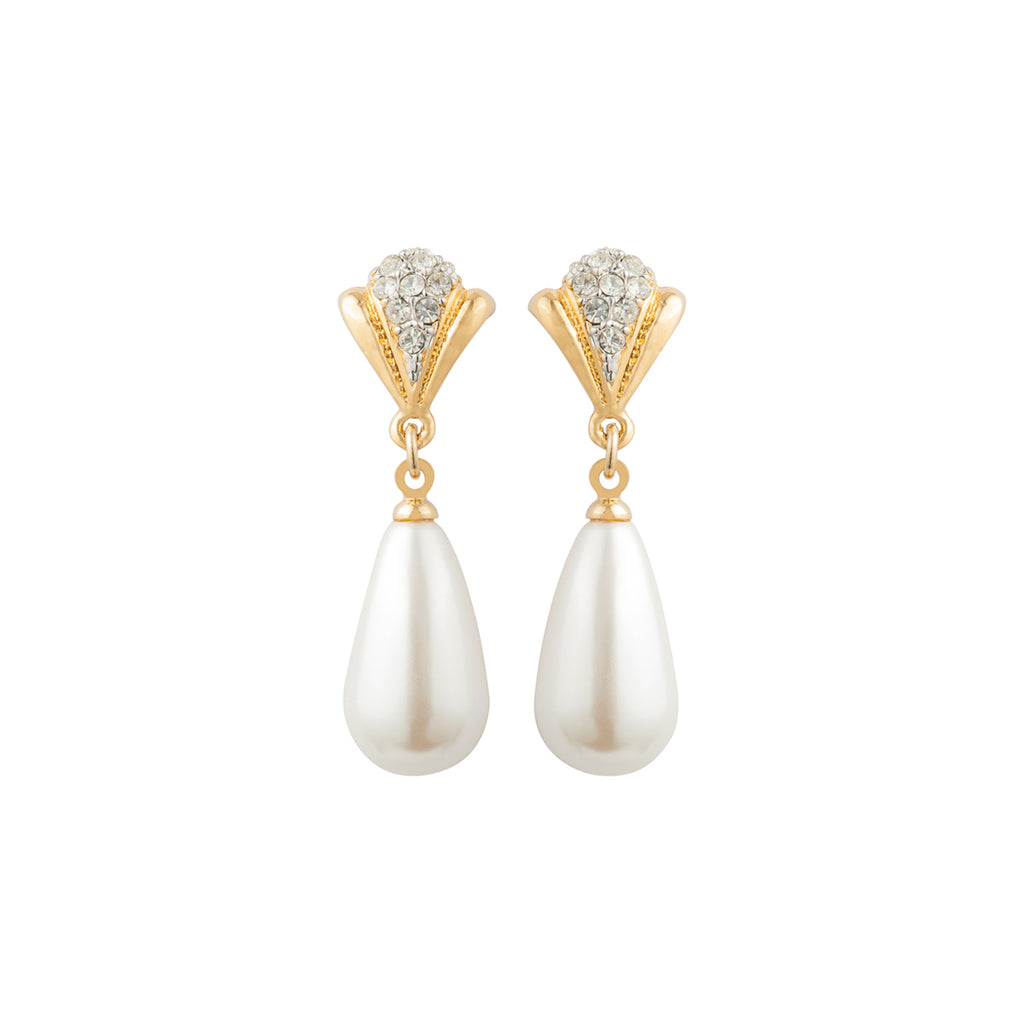 1980s Vintage Faux Pearl Drop Earrings