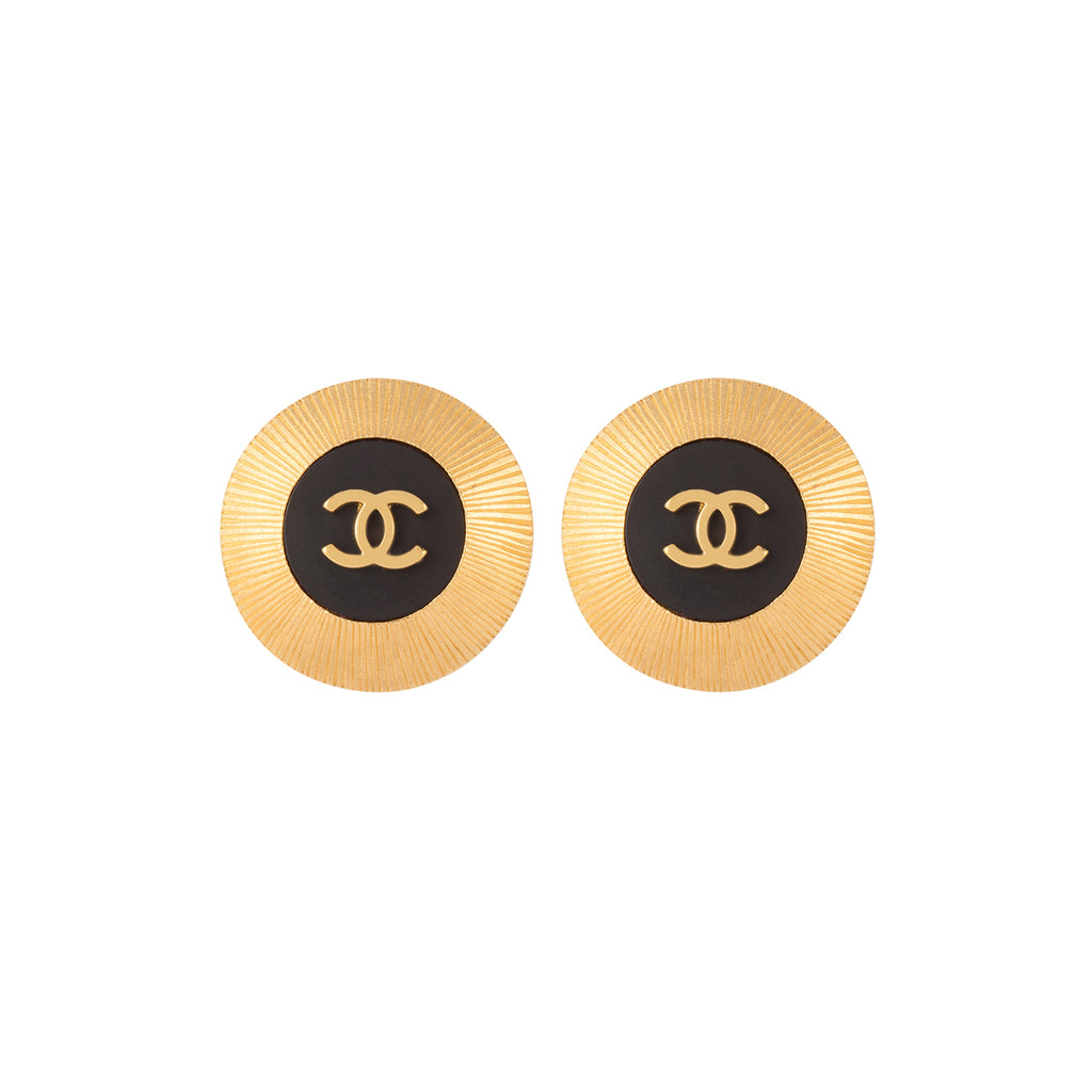1995 Vintage Chanel Black Lucite Clip-On Earrings