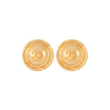 1980s Vintage Chanel Round Clip-On Earrings