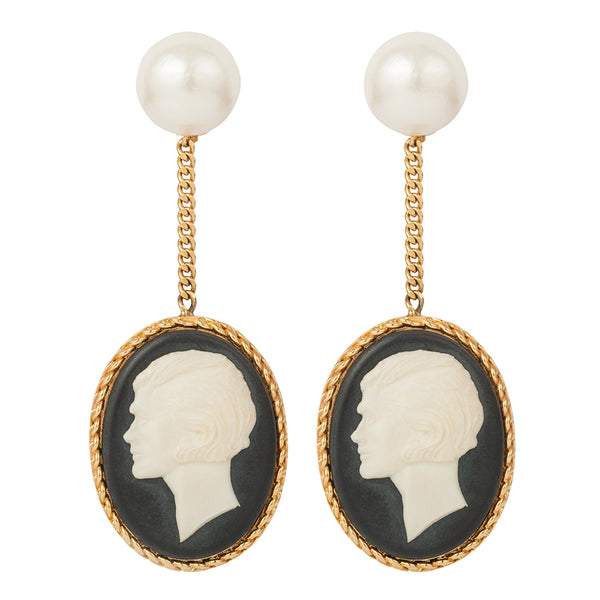 1980s Vintage Chanel Cameo Clip-On Earrings