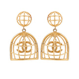 1980s Vintage Chanel Bird Cage Clip-On Earrings