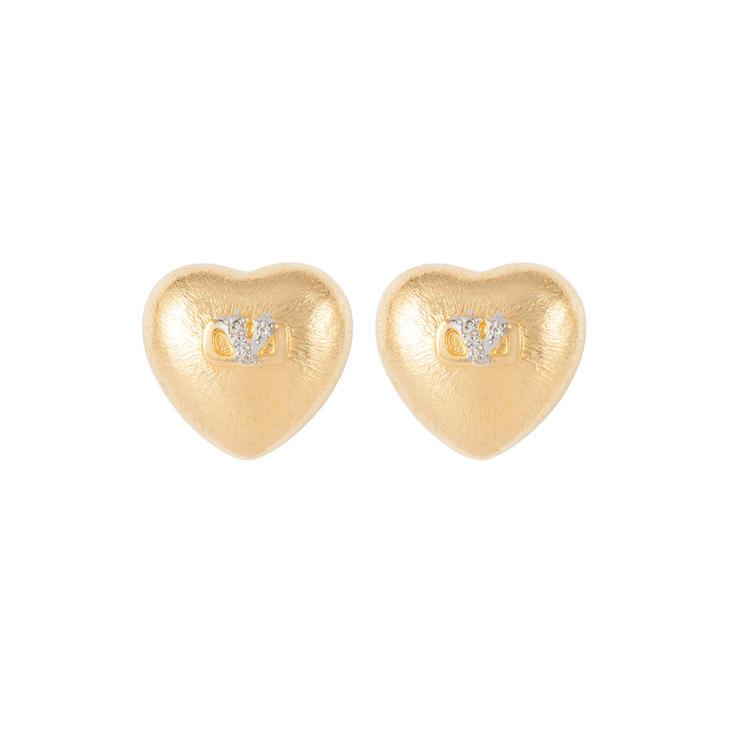 1980s Vintage Valentino Sculpted Heart Clip-On Earrings