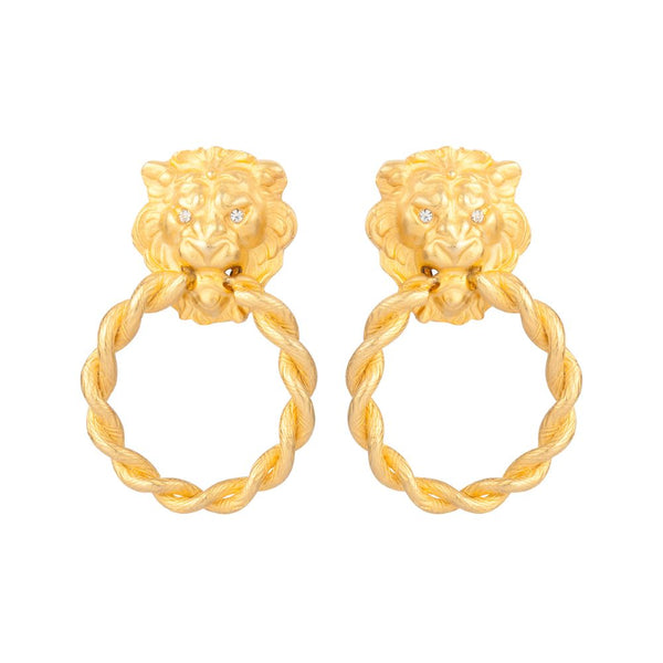 1980s Vintage Lion's Head Door Knocker Clip-On Earrings