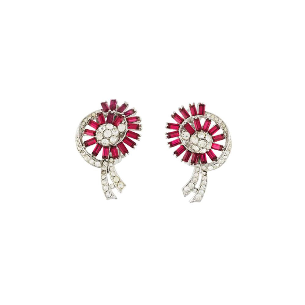 1970s Vintage Faux Ruby Stylised Clip-On Earrings