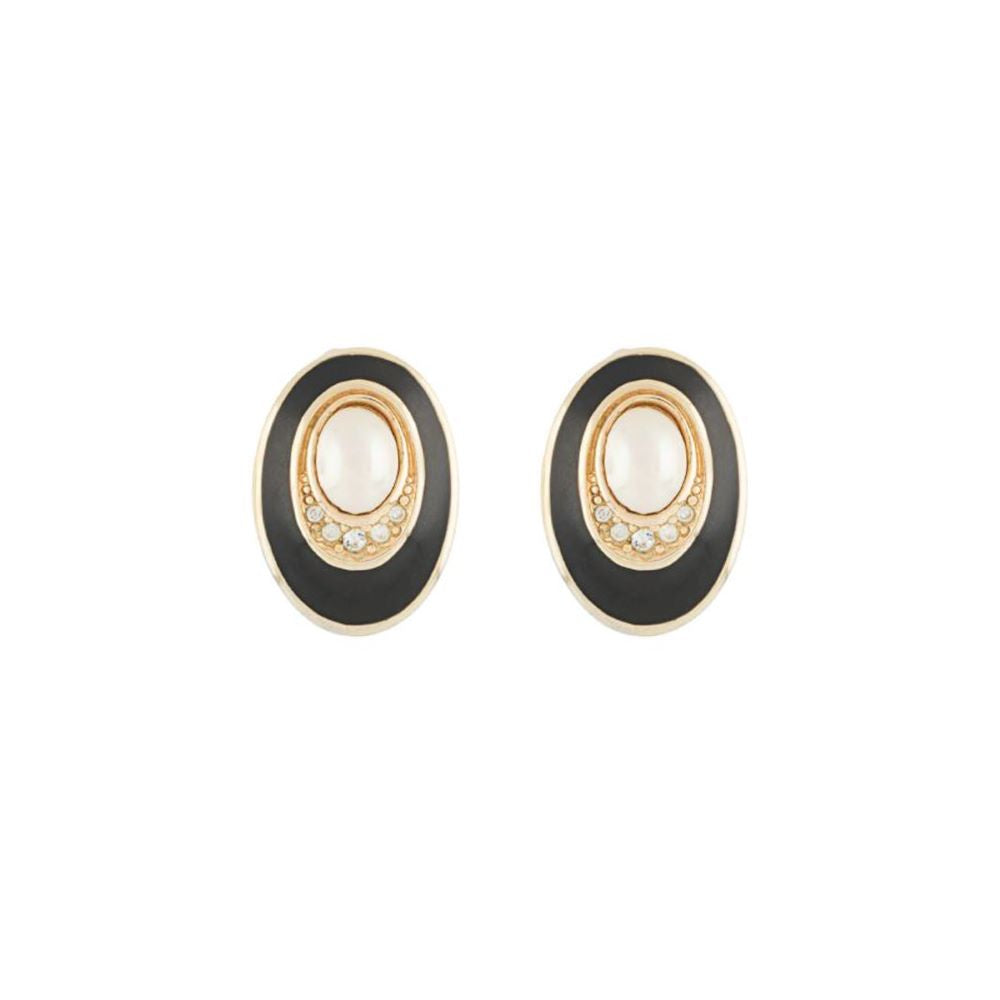 1980s Vintage Christian Dior Oval Clip-on Earrings