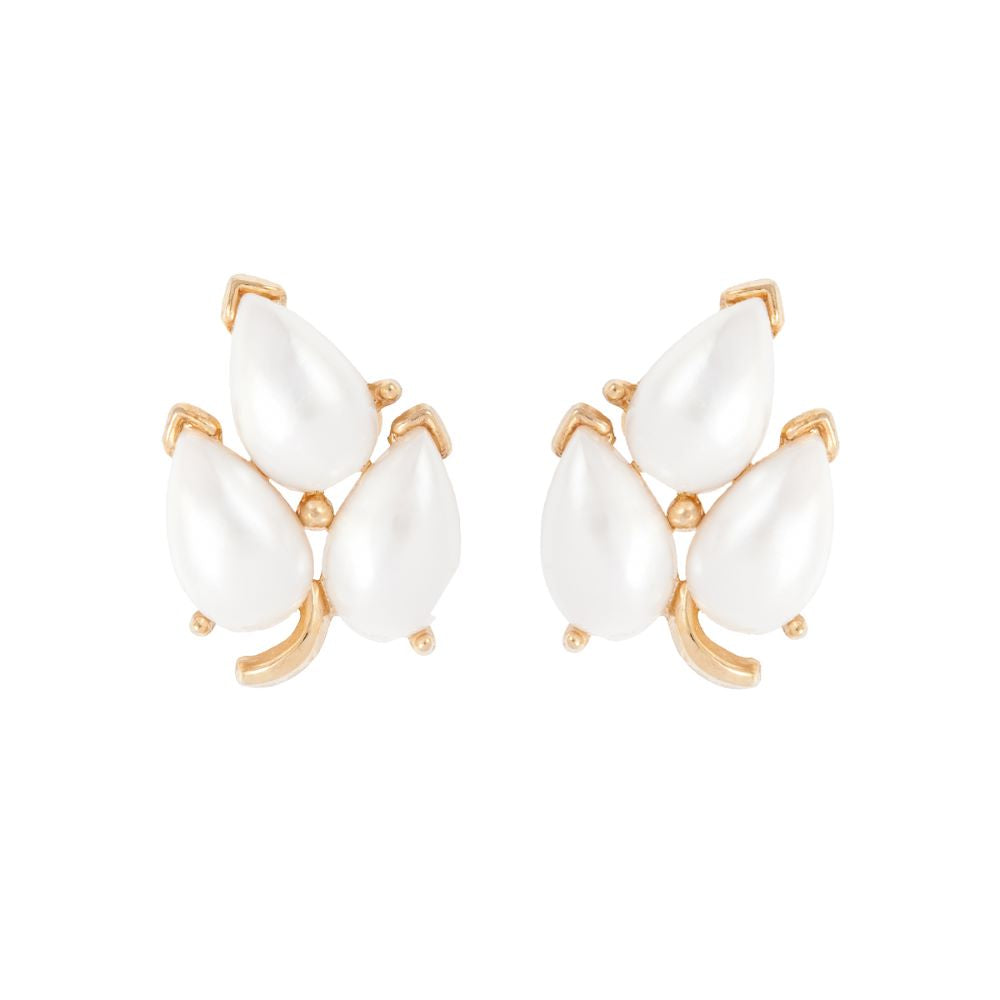 1970s Vintage Trifari Faux Pearl Leaf Clip-On Earrings