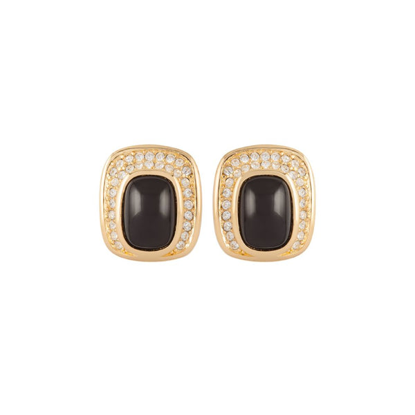 1980s Vintage Christian Dior Jet Clip-on Earrings