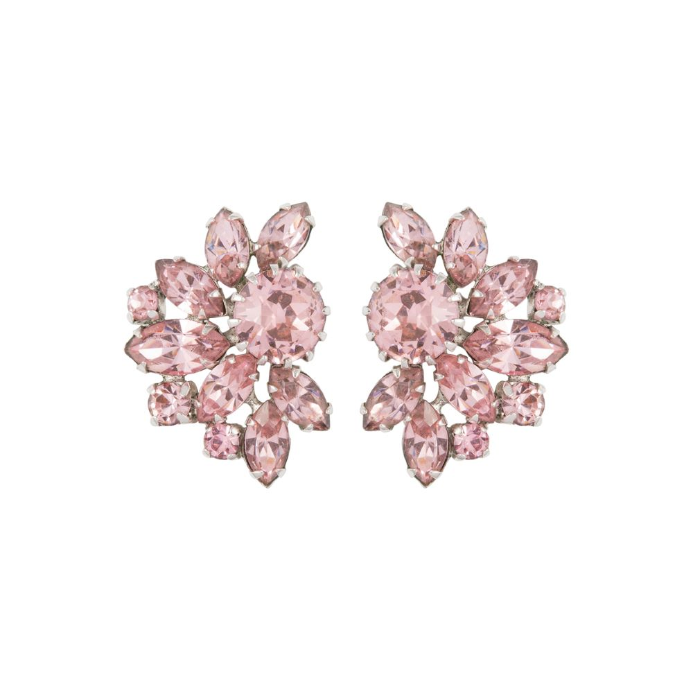 1950s Vintage Sherman Pink Crystal Clip-On Earrings