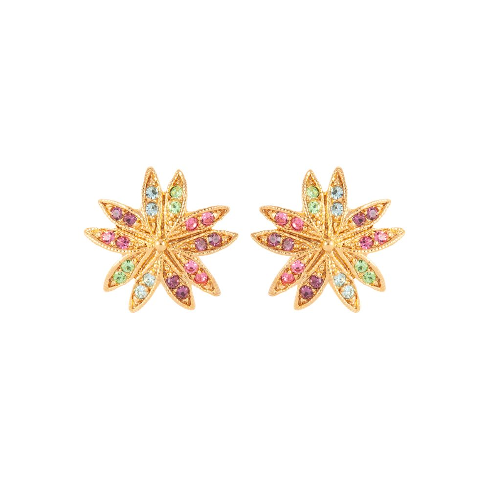 1990s Vintage D'Orlan Swarovski Crystal Star Clip-On Earrings