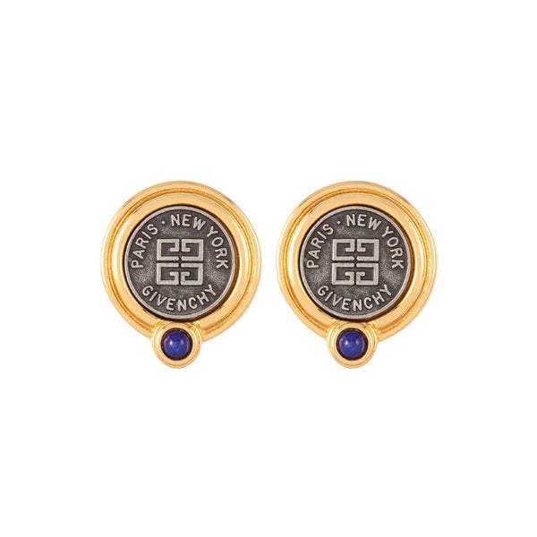 1980s Vintage Givenchy Logo Clip-On Earrings