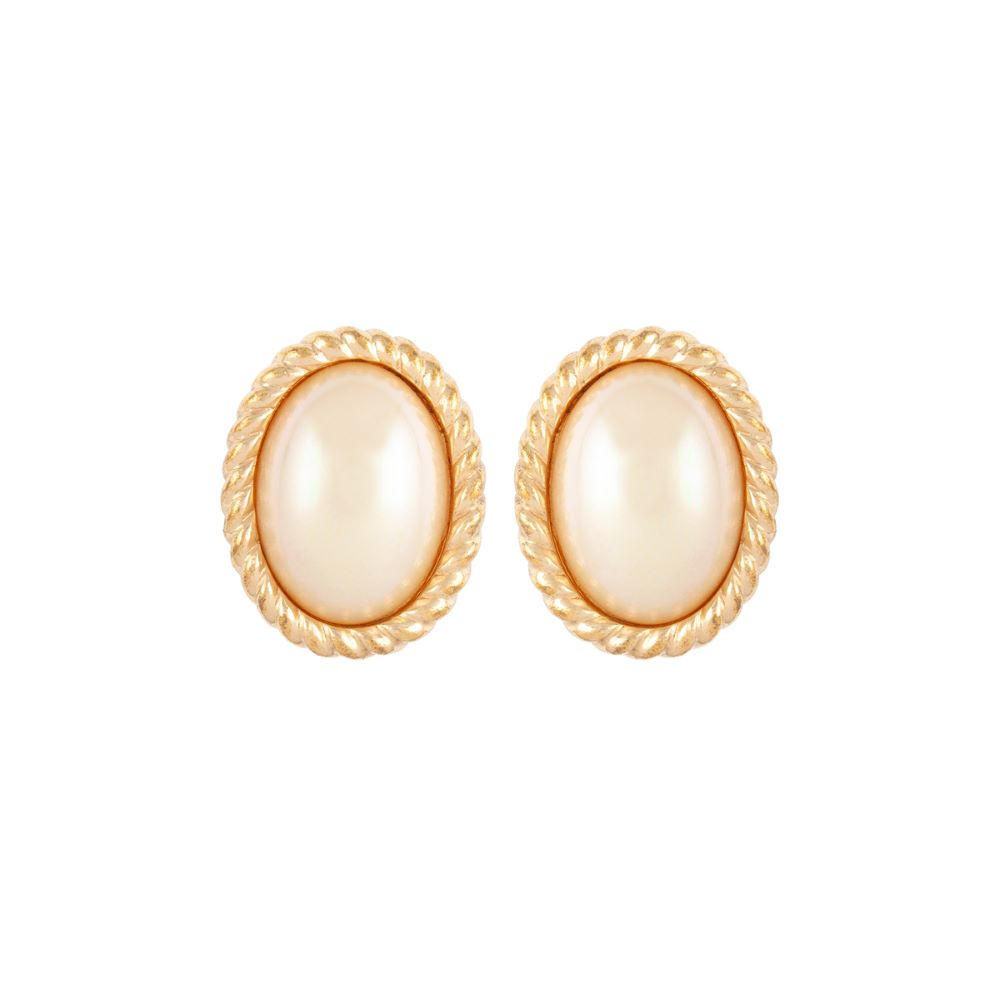 1980s Vintage Christian Dior Faux Pearl Clip-On Earrings
