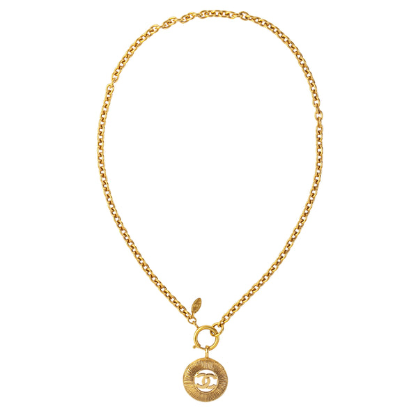1980s Vintage Chanel Gilt Metal Coin Pendant