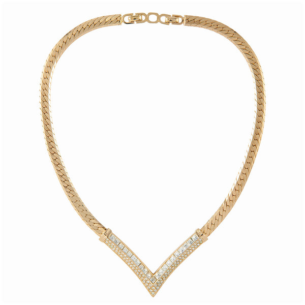 1980s Vintage Christian Dior V-Shaped Necklace