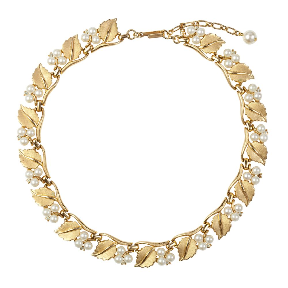 1960s Vintage Trifari Leaf and Faux Pearl Necklace
