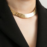 1980s Vintage Gold Plated Hammered Collar