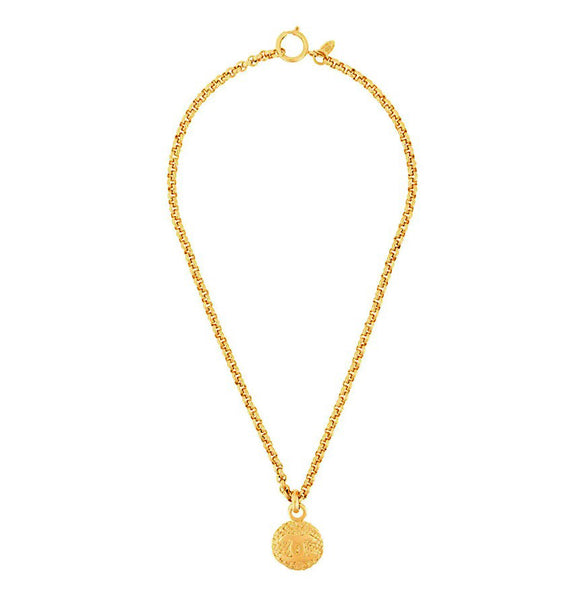 1980s Vintage Chanel CC Logo Coin Necklace