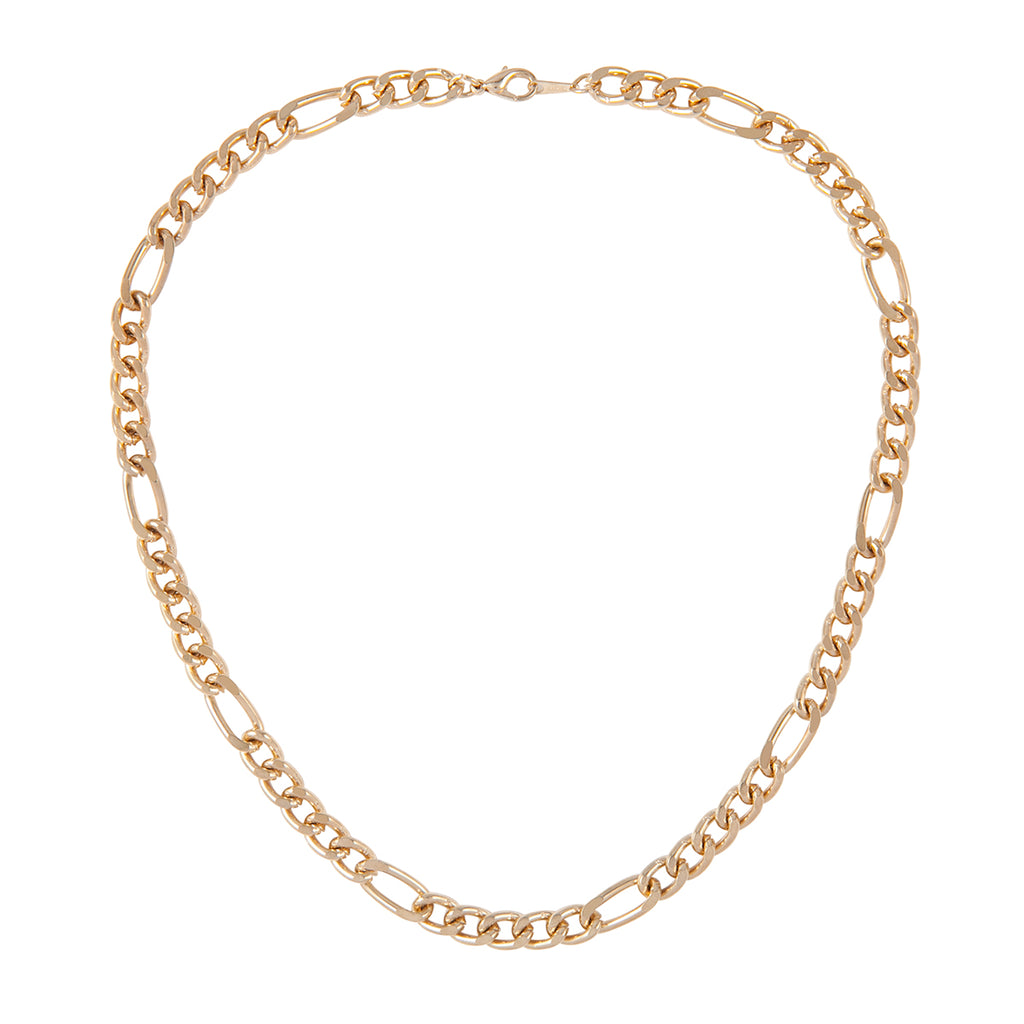 1990s Vintage Gold Plated Bold Figaro Chain Necklace