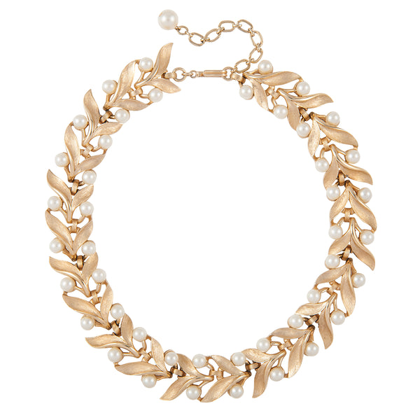 1960s Vintage Trifari Leaf Necklace
