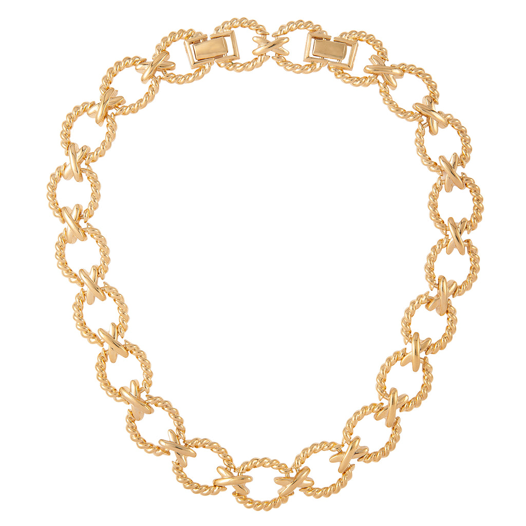 1980s Vintage Nina Ricci Criss Cross Necklace