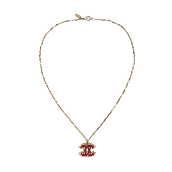 2008 Chanel Red Enamel Logo Necklace