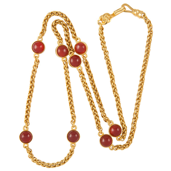 1995 Vintage Chanel Faux Ruby Chain Necklace