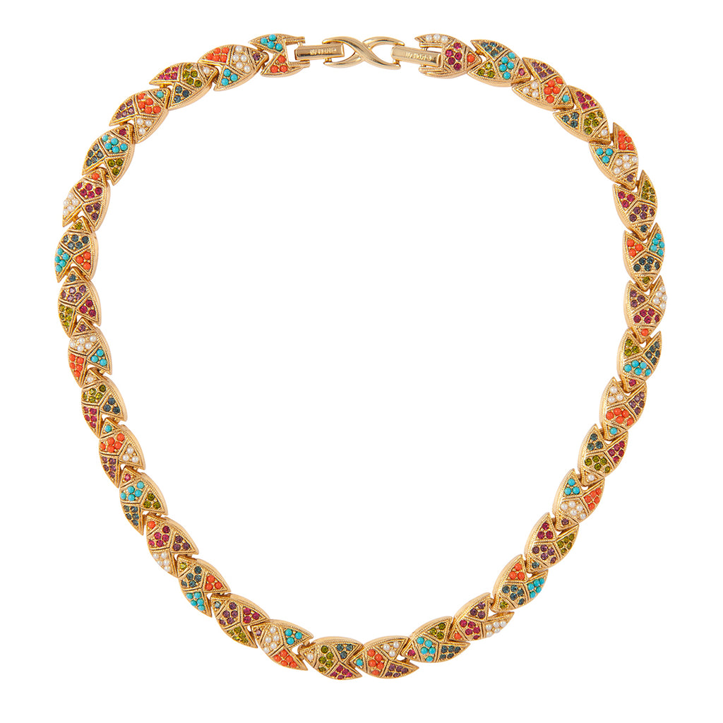 1990s Vintage D'Orlan Colourful Swarovski Crystal Collar