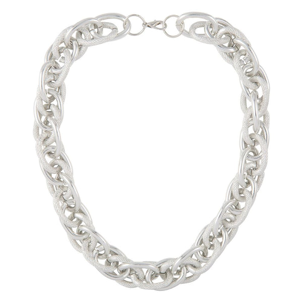 1990s Vintage Silver Plated Statement Chain Necklace