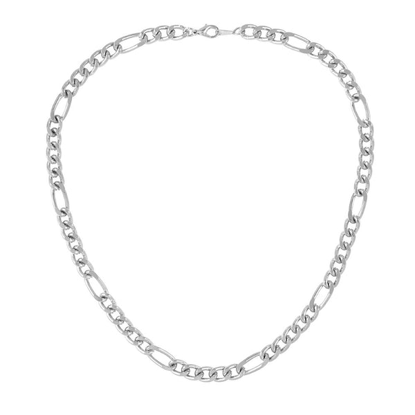 1990s Vintage Silver Plated Figaro Chain Necklace