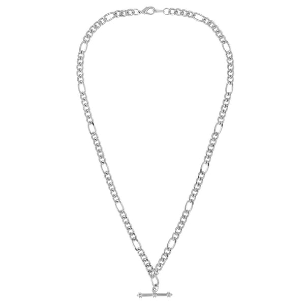 1990s Vintage Silver Plated Figaro Chain with T Bar