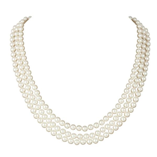 1960s Vintage Faux Pearl Triple Strand Necklace