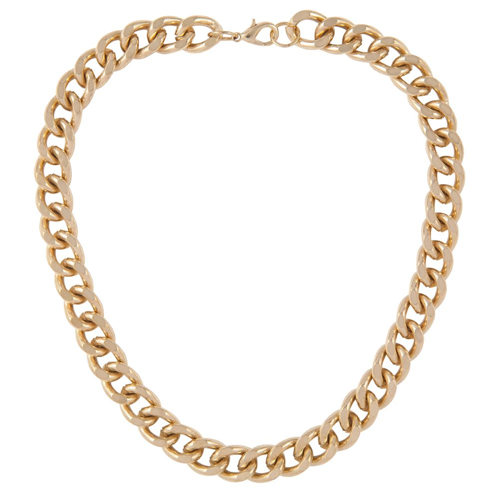1990s Vintage 22ct Gold Plated Chunky Curb Chain Necklace