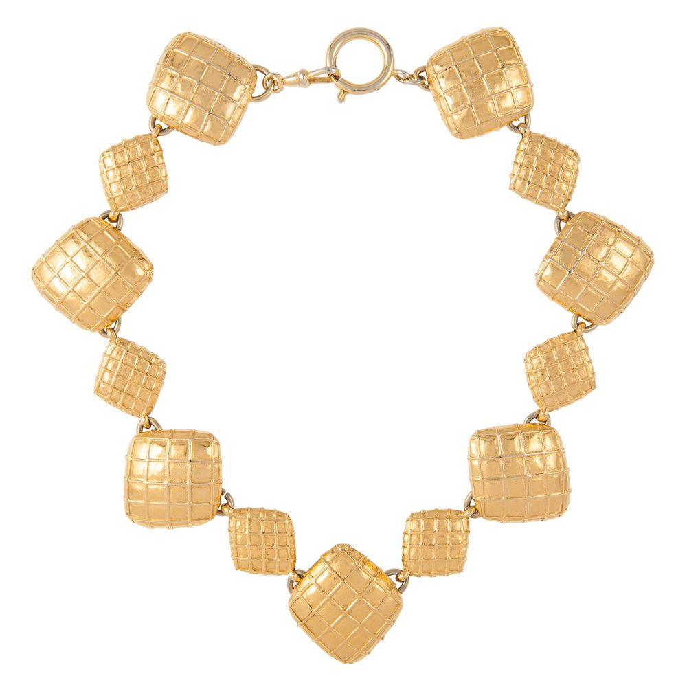 1980s Vintage Chanel Diamond Shaped Pattern Necklace