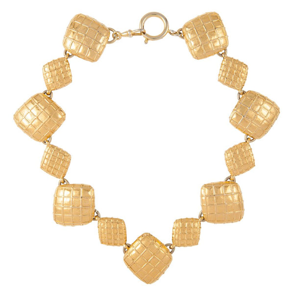 1980s Vintage Chanel Quilted Diamond Pattern Necklace