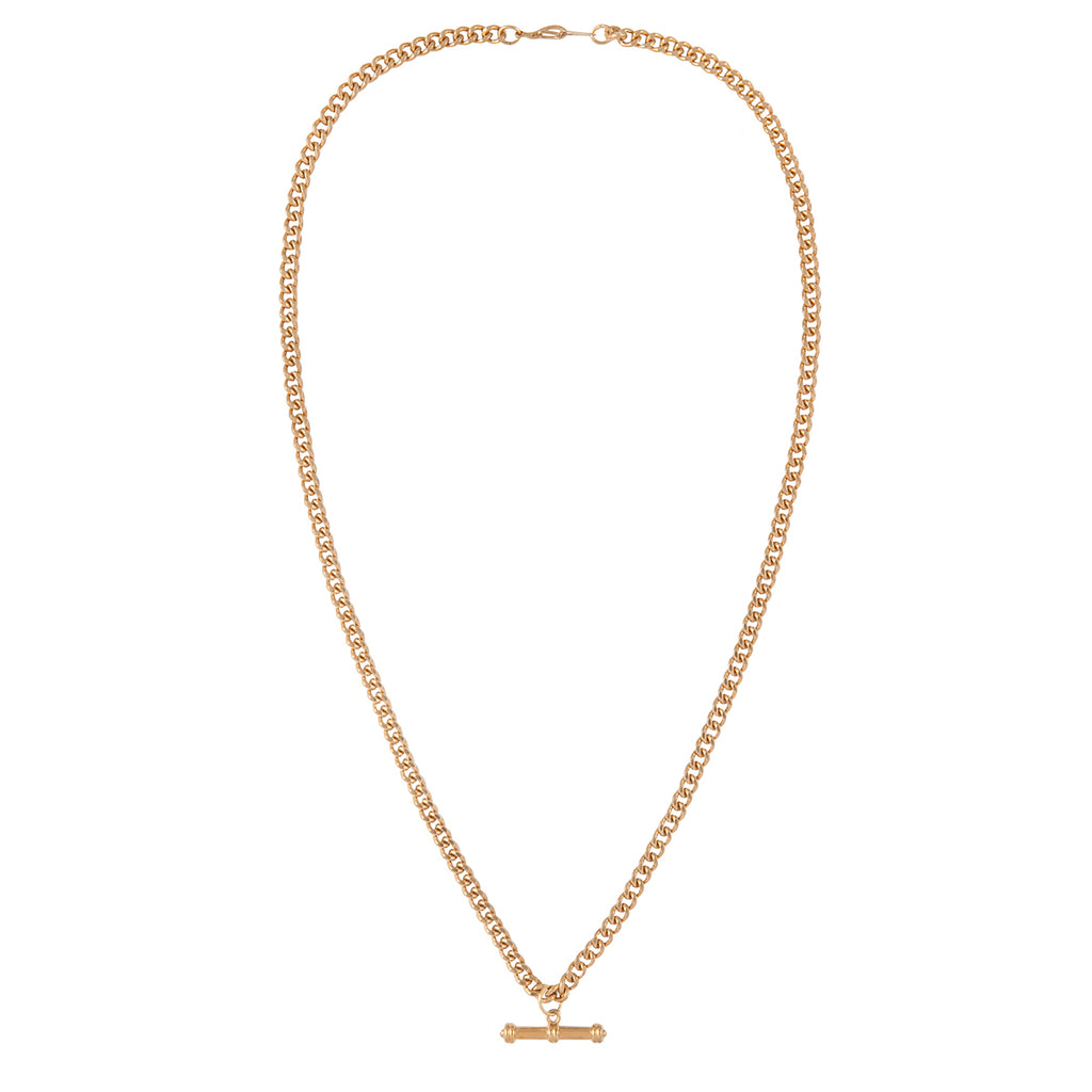 1990s Vintage 22ct Gold Plated Curb Chain Necklace with T-Bar