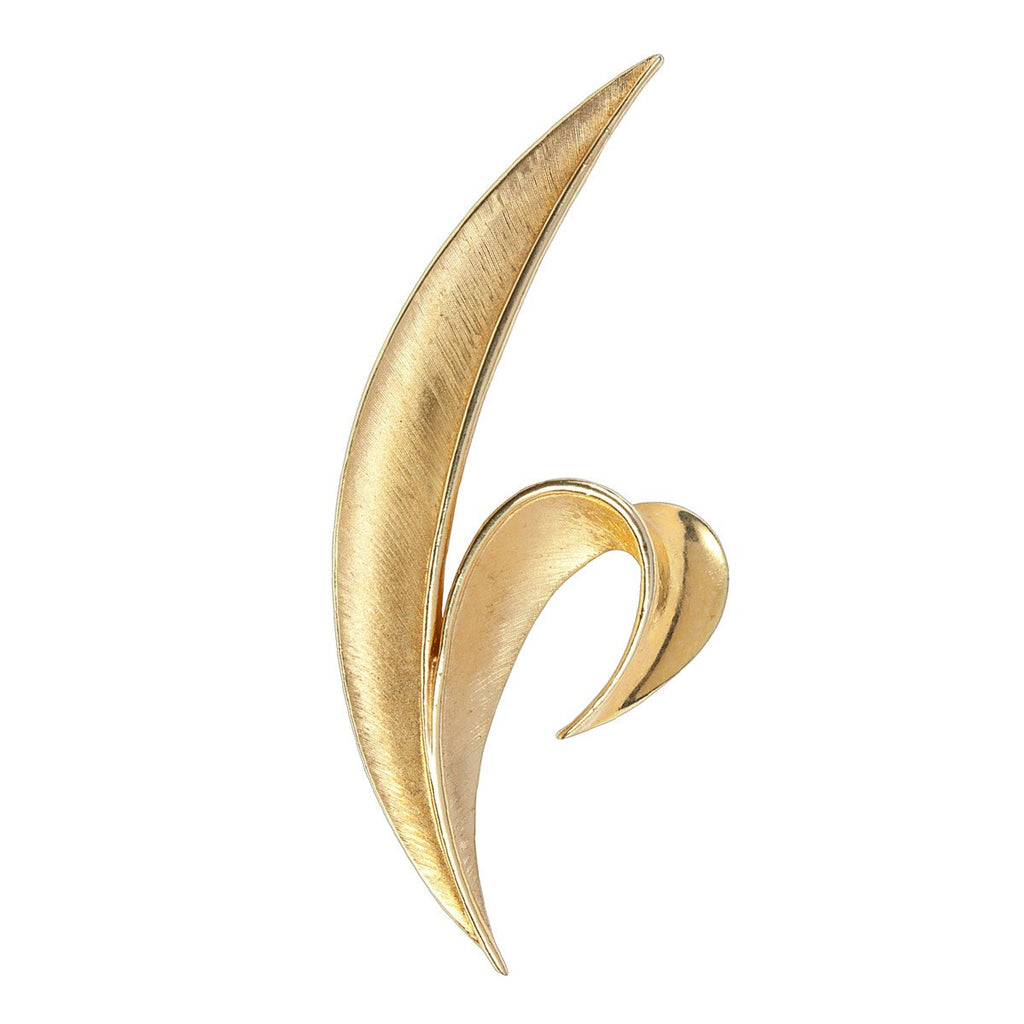 1960s Vintage Trifari Gold Leaf Brooch