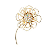 1960s Vintage Sarah Coventry Flower Swarovski Crystal Brooch