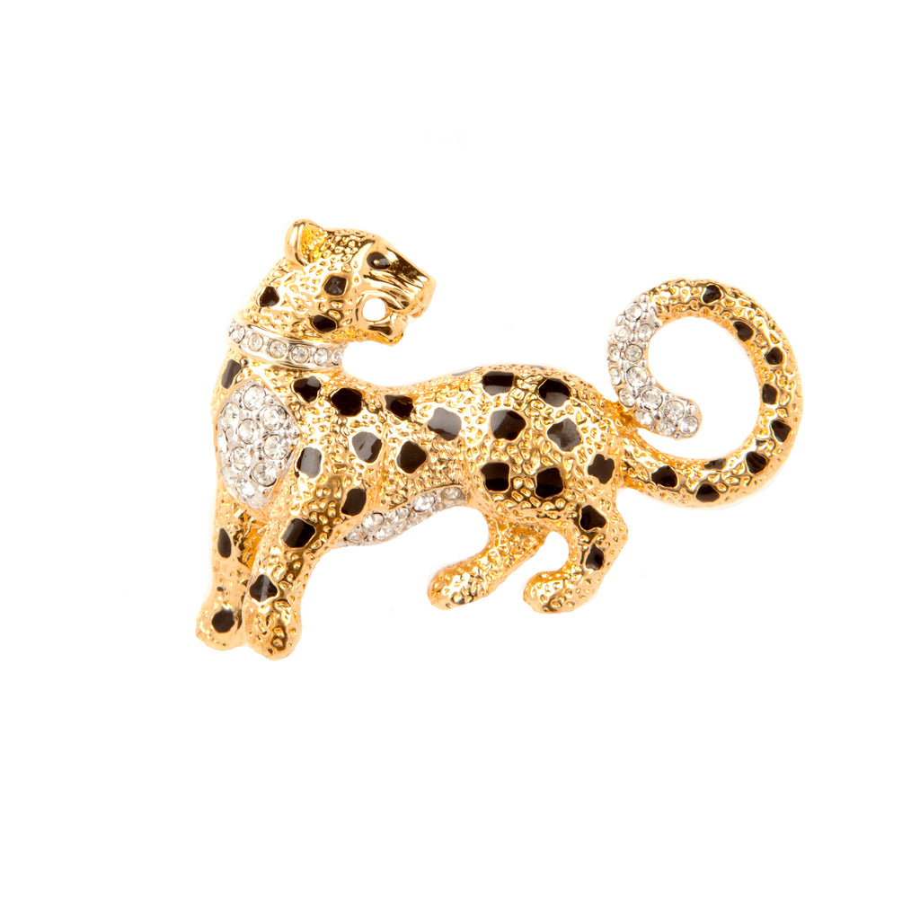1980s Vintage Attwood & Sawyer Leopard Brooch