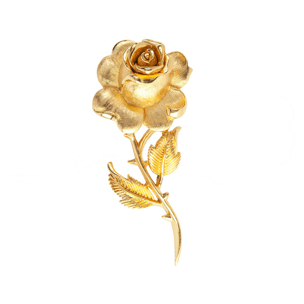 1960s Vintage Trifari Textured Rose Brooch