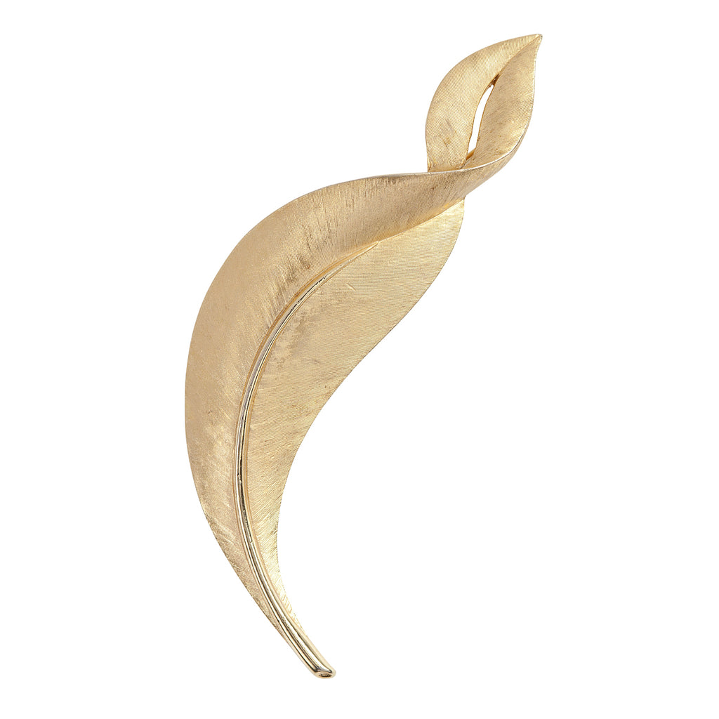 1960s Vintage Trifari Statement Brushed Leaf Brooch
